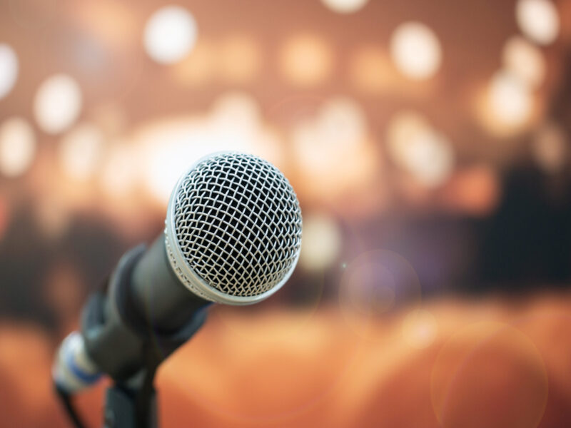 Seminar Conference Concept : Close-up Microphones on abstract bl